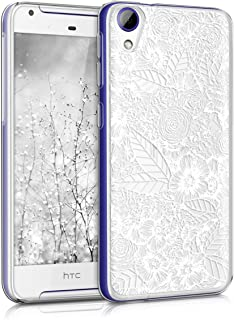 kwmobile TPU Silicone Case for HTC Desire 628 Dual SIM - Crystal Clear Smartphone Back Case Protective Cover - Blue/White/Transparent White 39474.04