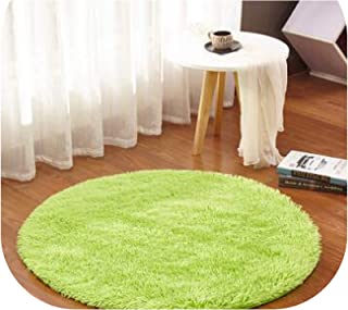 Anti-Slip Faux Fur Area Rug Big Round Floor Carpets for Living Room Bathroom Circle Mat Rug Home Textile Soft Carpet Alfombras,Fruit Green,Diameter 200cm