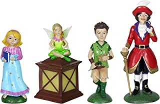 Exhart Neverland Mini Figurine Set – 4 Piece Mini Statue Garden Set Featuring Peter Pan, Tinkerbell, Wendy and Captain Hook – Decorative Resin Statues for a Fairy Garden 2