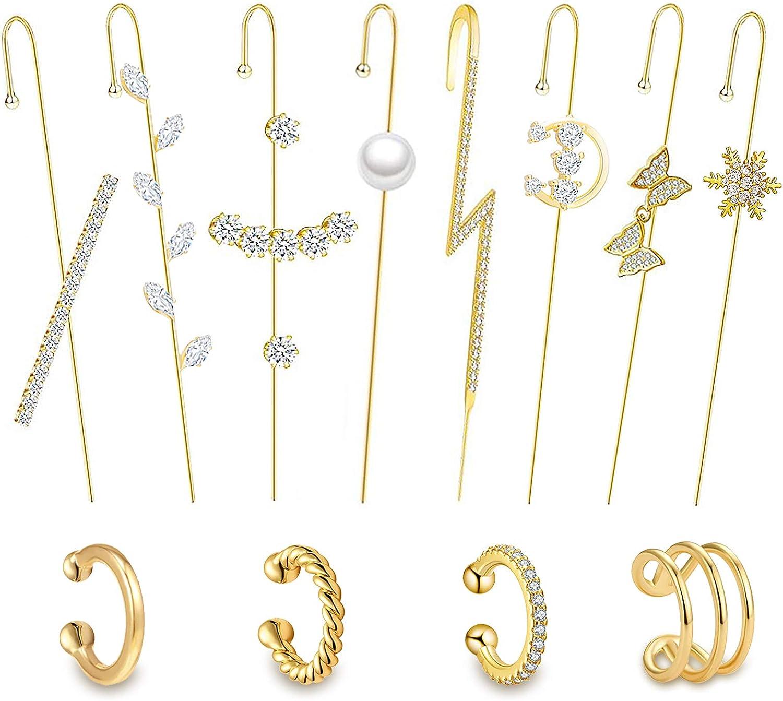 12 Pcs Ear Wrap Crawler Hook Earrings Ear Cuff Earrings For Women Non Pierced Ears Climber Piercing Cartilage Clip On Earrings