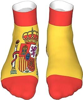SOUL-RAY, Calcetines de corte bajo que absorben la humedad, calcetines de tobillo deportivos casuales para mujer y hombre bandera de España suave Crew calcetines, bota Socklk