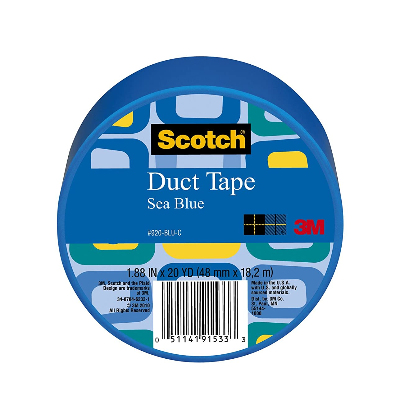 Scotch Duct Tape, Sea Blue, 1.88-Inch by 20-Yard, 6-Pack d4353523924