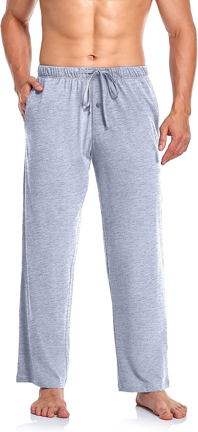 COLORFULLEAF 100% Cotton Pajama Pants for Men Soft Lounge Sleep Pants Knit Sleep Bottoms with Pockets