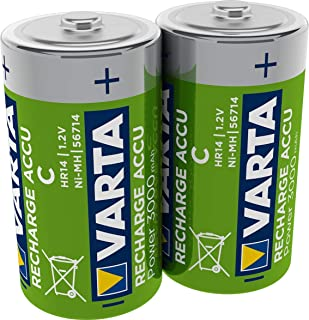 Varta ACCU - Pack de 2 pilas C recargables (NiMH, 3000 mAh, precargadas)