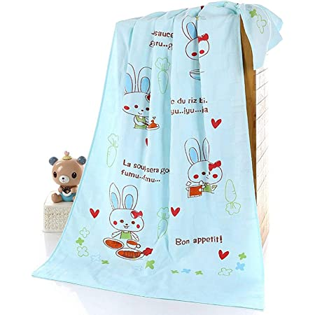 EIO Quick Drying High Absorbent Cartoon Animal Printed Baby & Kids Super-Soft Muslin Square Cotton Bath Towel Wash Cloth (Blue, 50CMS x 100CMS)