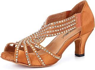 Women Rhinestone Ballroom Dance Shoes Latin Salsa Practice Dancer 2.5 inch Heel