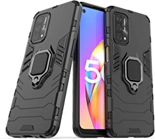 DOHUI Case for Oppo A93 5G, [Shock Absorption] 2 in 1 Hybrid Armor Hard Back Case Cover with Kickstand for Oppo A93 5G (Bl...