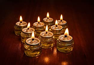 Pre-Filled Menorah 100% Olive Cup Candles - Hanukkah Lights - NO SPIL NO MESS Oil with Cotton Wick in Glass Cup 22 per pack, Burns Approx.3 1/2 Hrs