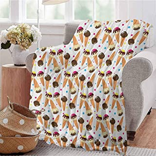 Luoiaax Ice Cream Commercial Grade Printed Blanket Chocolate Covered Ice Cream with Colorful Little Dots Frozen Desert Waffle Cones Queen King W60 x L50 Inch Multicolor