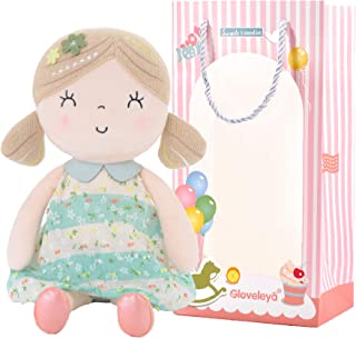 Gloveleya Baby Doll Girls Gifts Cloth Dolls Wearing Spring Dress PlushToy Green 17 Inches with Gift Box