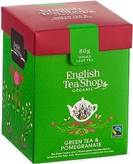 English Tea Shop Té Verde Biologico Aromatizzato alla Melagrana in Foglia Sfusa Eco-Box Compostabile - 1 x 80 Grammi