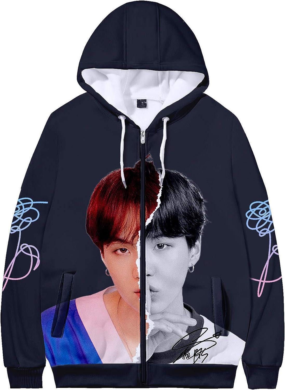 Dolpind Kpop BTS Hoodie Love Yourself Suga Jimin Jungkook V Rap Jin Zip Up Hoodie Sweater Merchandise