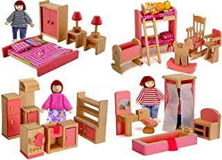 Giraffe US Wood Family Dollhouse Furniture Set, Pink Miniature Bathroom/ Kid Room/ Bedroom/ Kitchen House Furniture Dollho...