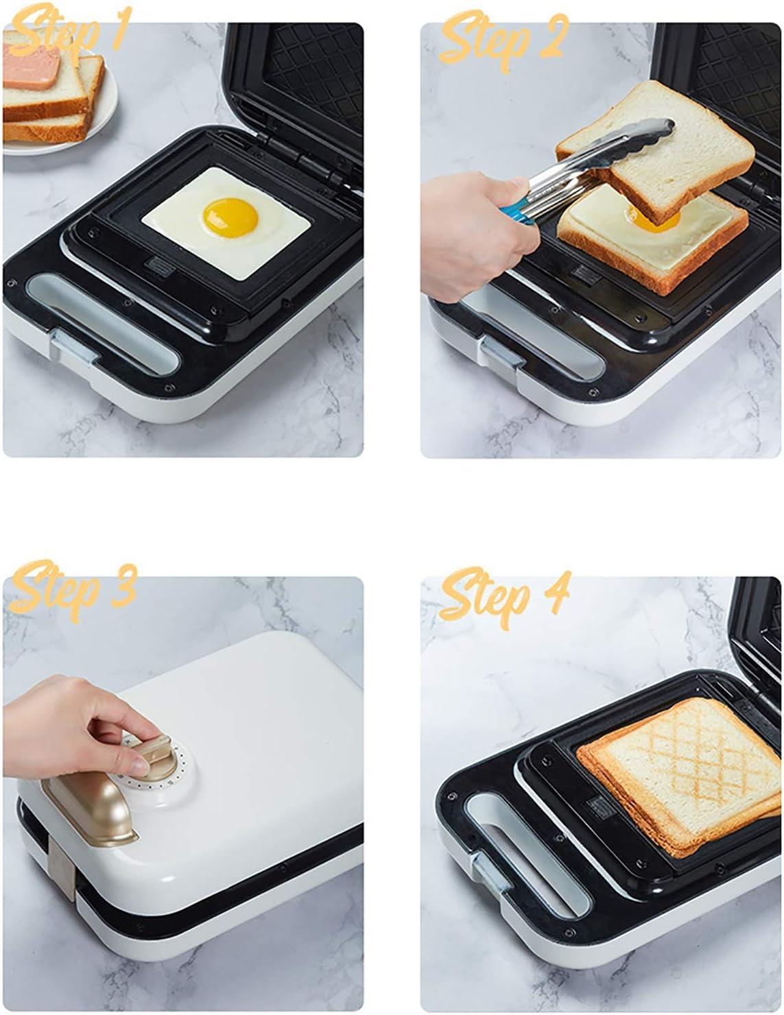 Sandwich-broodrooster, wafelijzer, knop timing, dubbelzijdige verwarming, verwijderbare antiaanbaklaag Bakvormen, lichtgewicht en compact (Color : Blue3) White2