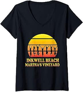 Womens Inkwell Beach, Oak Bluffs, Martha's Vineyard, MA, Vintage V-Neck T-Shirt