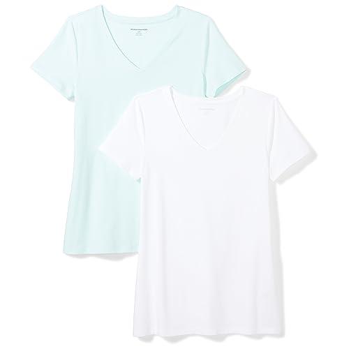 c08acb95 Amazon Essentials Women's 2-Pack Short-Sleeve V-Neck T-Shirt