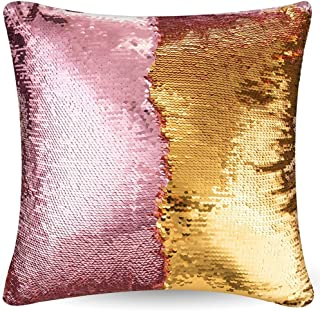 "URSKYTOUS Reversible Sequin Pillow Case Decorative Mermaid Pillow Cover Color Changing Cushion Throw Pillowcase 16"" x 16"",Pink and Gold"