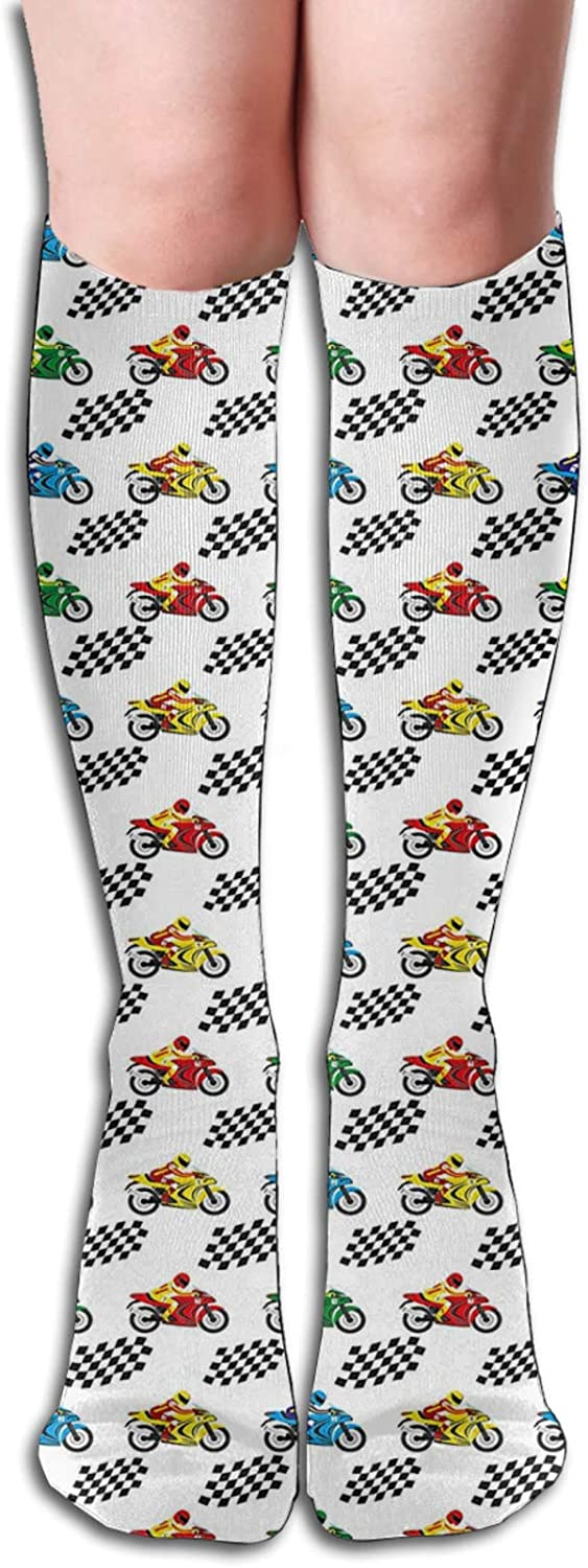 Compression High Socks-Sports Bike With Racing Riders Among Black And White Chequered Flags Competition Best for Running,Athletic,Hiking,Travel,Flight