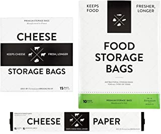 Formaticum Collection - Cheese Storage Bags (15), Food Storage Bags (10) and Cheese Storage Paper with Adhesive Labels (15)