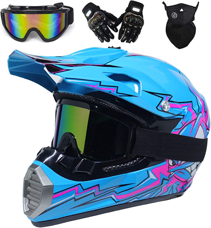 Qytk Crosshelm Motorradhelm Helm Kinder Motocross Helm Set Mit Brille Maske Handschuhe Schwarz Blau Motorrad Cross Enduro Helme Für Mountainbike Mtb Sport Brille Motorcycle Downhill L 56 57cm Auto