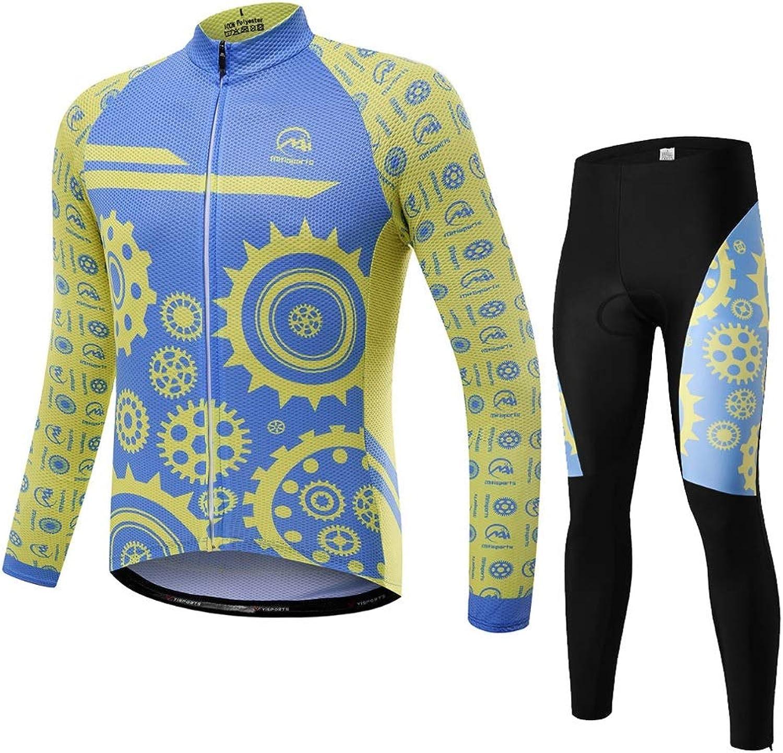 Ldd-qxf Herren und Damen Radsportanzug Langarmanzug Herbst und Winter atmungsaktives Kissen saugfhig schnell trocknende Fahrradbekleidung