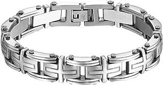 Cupimatch punk Biker da uomo in acciaio religioso croce Link braccialetto 22,6cm
