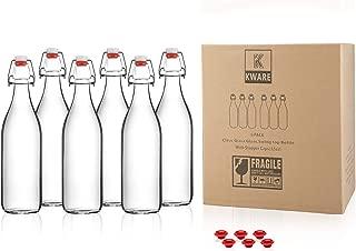 Kware - Best Large Swing Top Glass Bottle [33.75 oz/1 liter] - Giara Glass Bottle with Stopper - Caps Gasket Seal Airtight, for Kombucha, Oil, Vinegar, Beverages, Kefir - Clear [Set of 6]