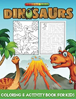 dinosaurs coloring & activity book for kids: An Amazing Dion Themed Activity Book With Coloring ,Puzzle, Word Search, Cros...