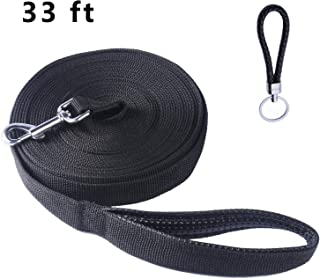 Pofomede Long Leash 33-Feet Dog Leash, Multiple-Use Extra Long Nylon Training Lead Leash with Friction Reducing Leather Padded Handle/Loop for Large Medium Dogs Training Walking