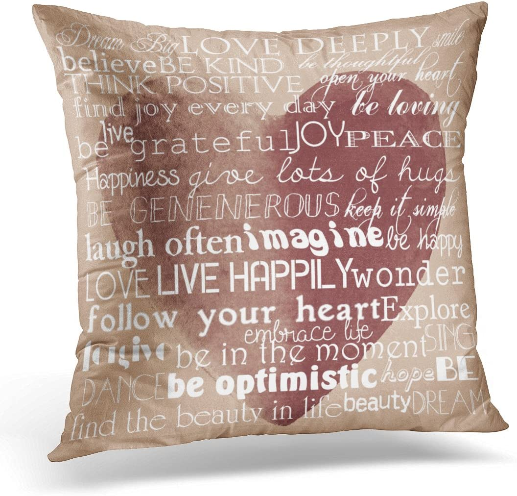 Emvency Throw Pillow Cover White Motivational Inspirational Words Watercolor Red Dream Decorative Pillow Case Home Decor Square 20 X 20 Inch Pillowcase Home Kitchen