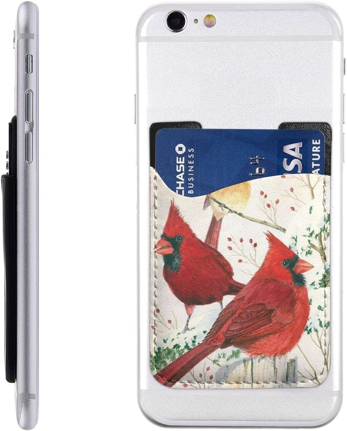 Red Birds Phone Card Holder Slee Cell Inventory cleanup selling San Diego Mall sale Wallet On Stick