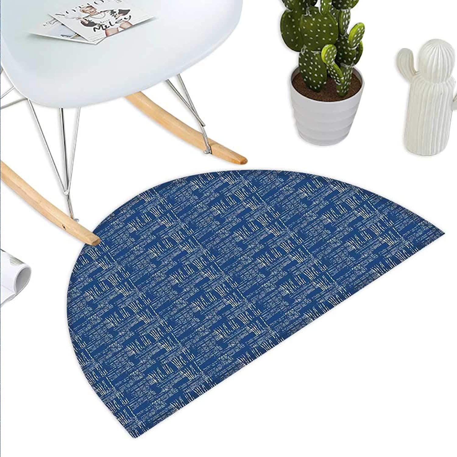 bluee and White Semicircle Doormat Watercolor Style Tie Dye Grid Indonesian Grunge Stripy Composition Halfmoon doormats H 23.6  xD 35.4  Cobalt bluee White