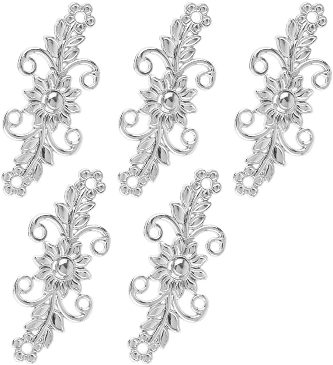 IEFIEL 5 Pairs Retro Flower Clasp safety Filigree Trivet Fasteners Clip cheap