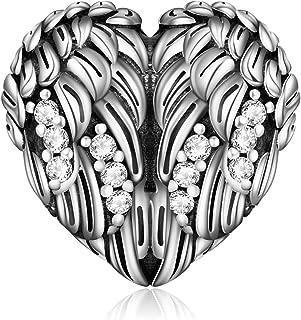 Guardian Angel Wing Heart Shape Charm 925 Sterling Silver Animal Bead Fit European Bracelet Necklace