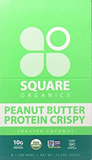 Square Organics Vegan Protein Bars - Toasted Coconut Crispy - 10g Protein - Organic Protein Bars are Gluten Free, Dairy Free, Soy Free, Non-GMO - Perfect Protein Bar for Plant Based Diet - 9 Pack