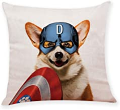 "Ihopes Captain Corgi Dog America Super Hero Pillow Covers, Pillow Case Cushion Cover for Sofa Couch Decor 18""x 18""Inch"