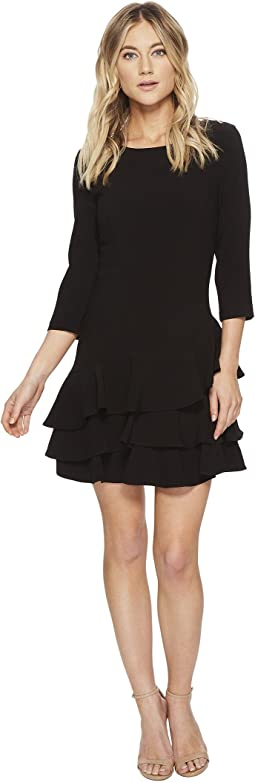 Halston Heritage Elbow Sleeve Round Neck Dress w/ Flounce
