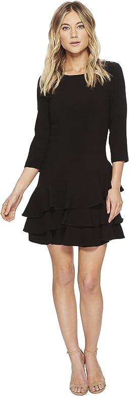 Halston Heritage - Elbow Sleeve Round Neck Dress w/ Flounce