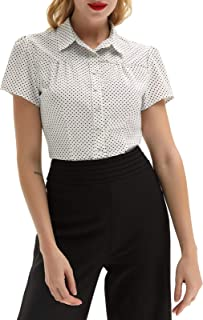 Women's Polka Dot Shirt Tops 1950s Retro Short Sleeve Blouse Tops