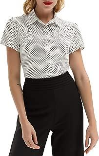 Belle Poque Women's Polka Dot Shirt Tops 1950s Retro Short Sleeve Blouse Tops