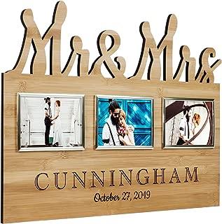 Bamboo Mr. & Mrs. Wedding Photo Frame Plaque   Rustic Wedding
