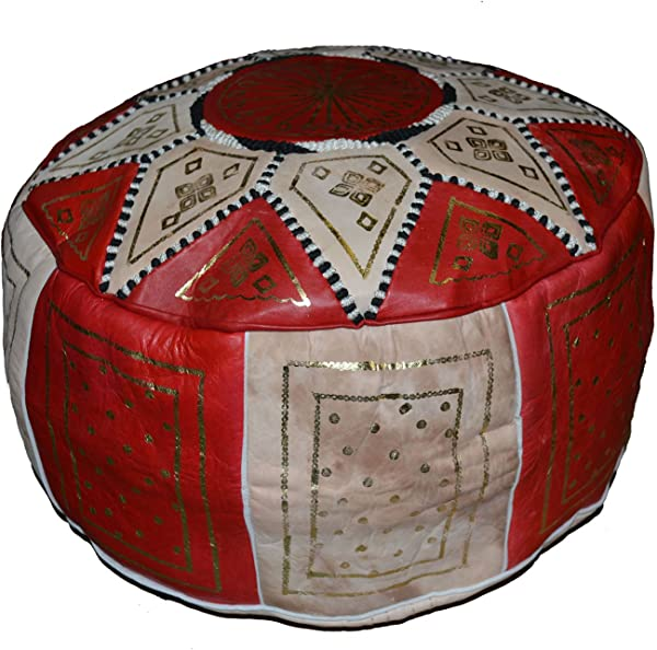 Moroccan Poofs Hand Made 100 Leather Ottoman Comfortable Round Design Foot Stool