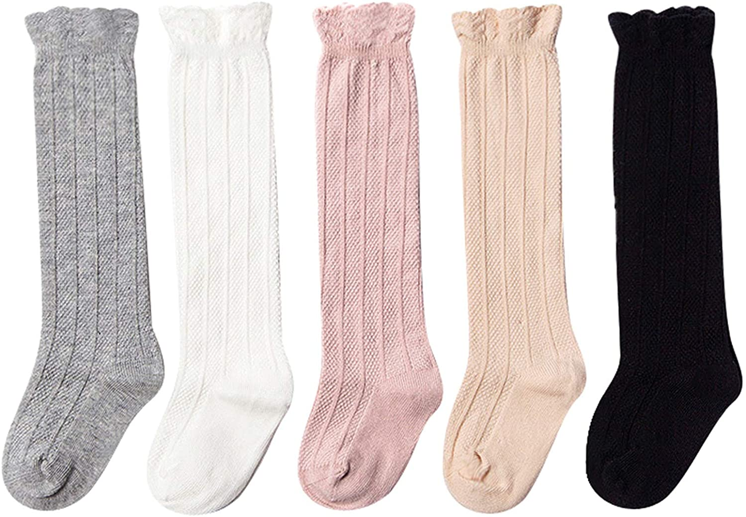 Epeius Baby Girls Boys Uniform Knee High Socks Tube Ruffled Stockings Infants and Toddlers (Pack of 3/5)