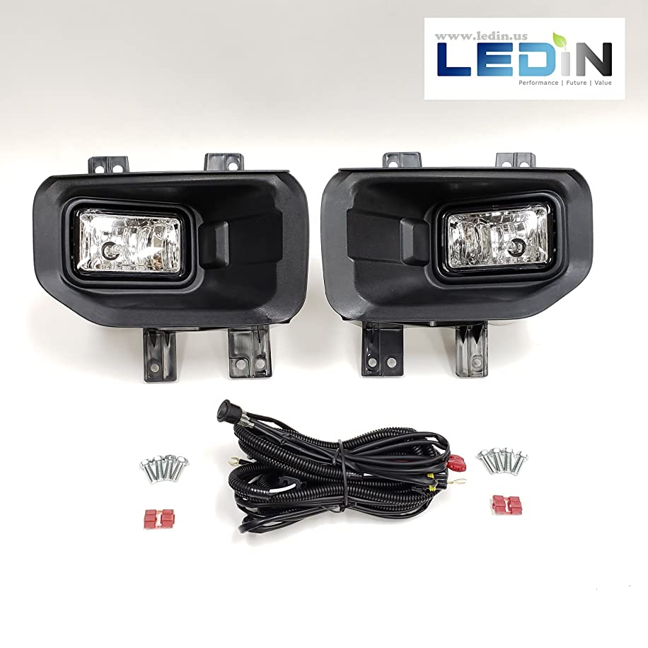 LEDIN For 2015-2017 Ford F150 F-150 Front Bumper Clear Fog Lights with Bezel Wires Switch Bulbs