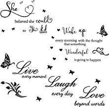 3 Sets Vinyl Wall Quote Stickers She Believed She Could so She Did Sticker Wake up Every Morning Live Every Moment, Laugh ...
