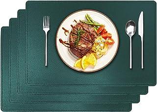 WIFIGDS Lot de 4 sets de table en cuir synthétique lavable et résistant à la chaleur 45 x 30 cm Vert