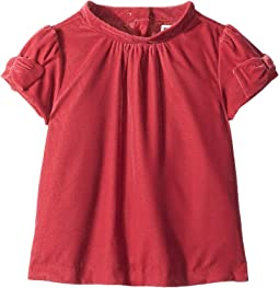 Bow Cap Sleeve Velvet Top (Toddler/Little Kids/Big Kids)