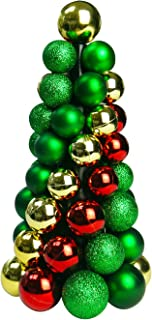Sunlit 10'' Christmas Ball Ornaments Tree, Christmas Decorations Balls Tree, Mini Artificial Christmas Tree, Home and Office Tabletop Decor, Indoor Fireplace Decoration, Glitter Green Red Gold