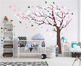 AIYANG Cherry Blossom Tree Wall Decals White Pink Flowers Wall Stickers for Baby Nursery Bedroom & Living Room Decoration (Coffee Brown,Left)