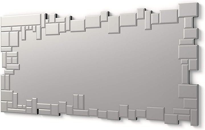 Specchi decorativi moderni di pareti rettangolare colore argento | 140x70cm dekoarte e023